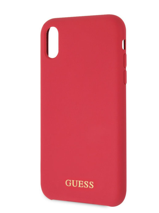 Чехол Guess Silicone collection Gold Logo hard IPhone XR (красный)